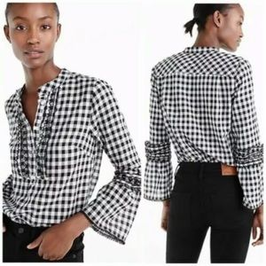 J.Crew Embroidered Bell Sleeve Gingham Blouse